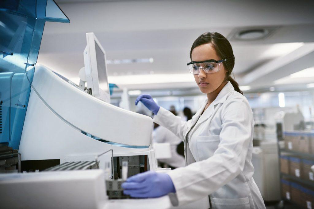 Woman testing in lab