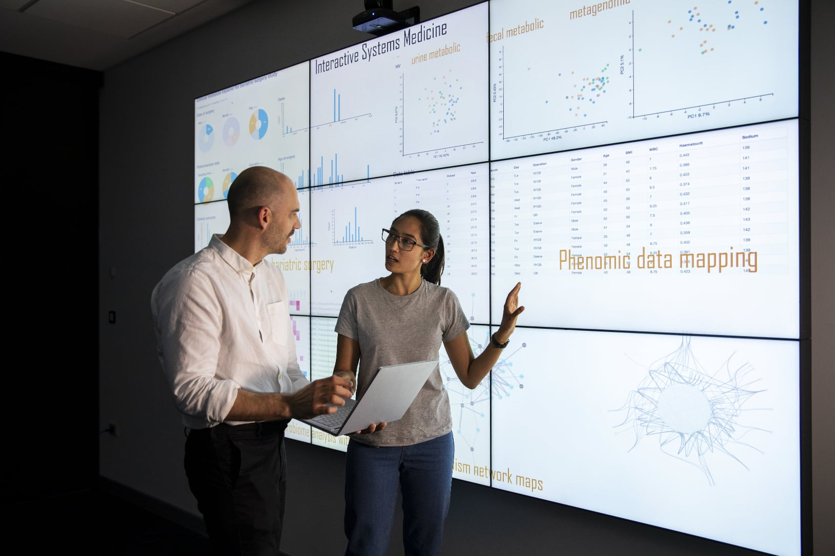 Woman and man looking at data on a screen