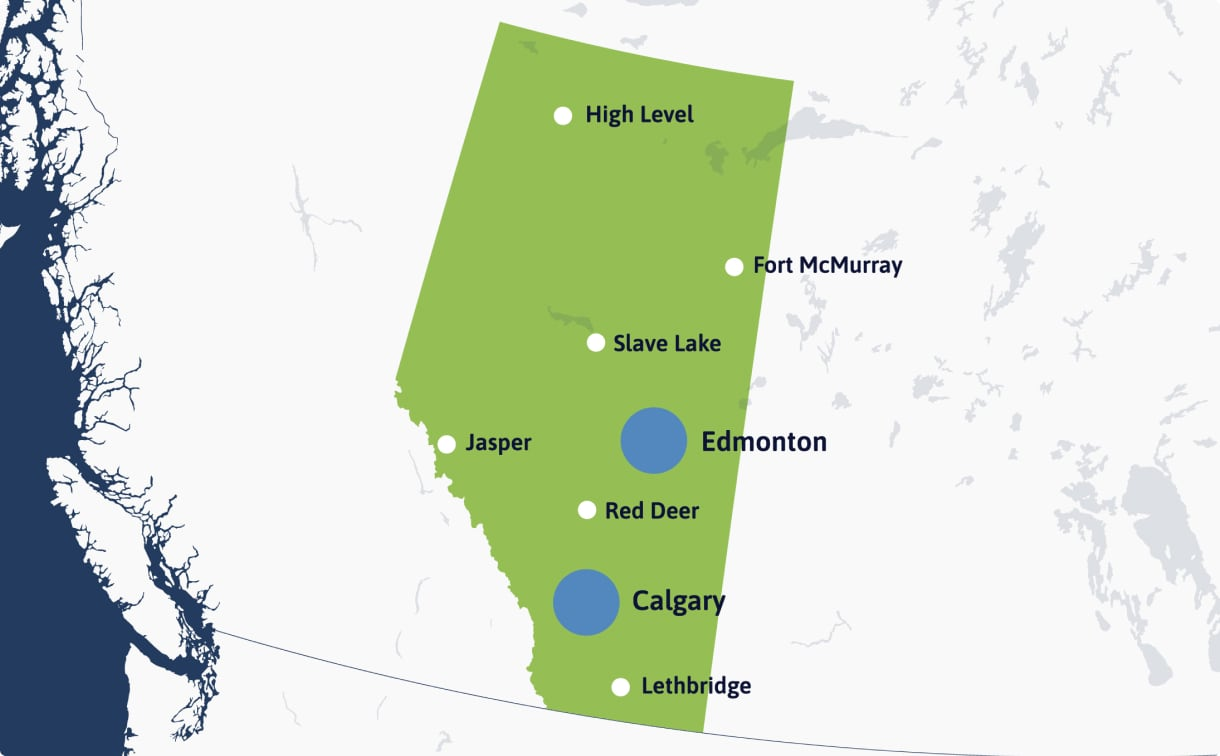 Alberta Map with trial site locations